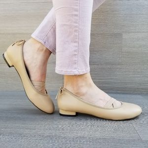 Shoes - Nude Ballerina Flat Loafers Elastic Bands & Bow-C